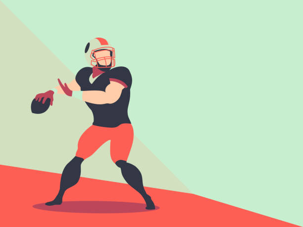 American football player Action Vector, character Football Player. American football player Action Vector, character Football Player vector and space for text quarterback stock illustrations