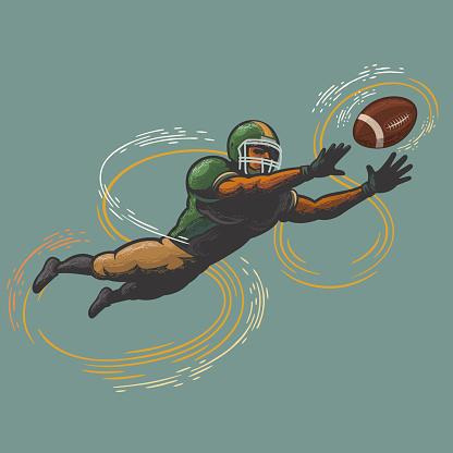american football player catching ball