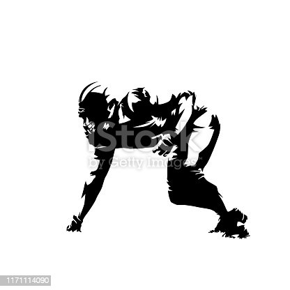 American football player, defensive line position. Abstract isolated vector silhouette, side view