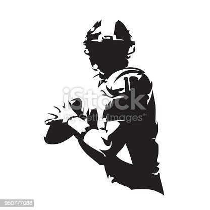 American football player holding ball, isolated vector silhouette. Team sport