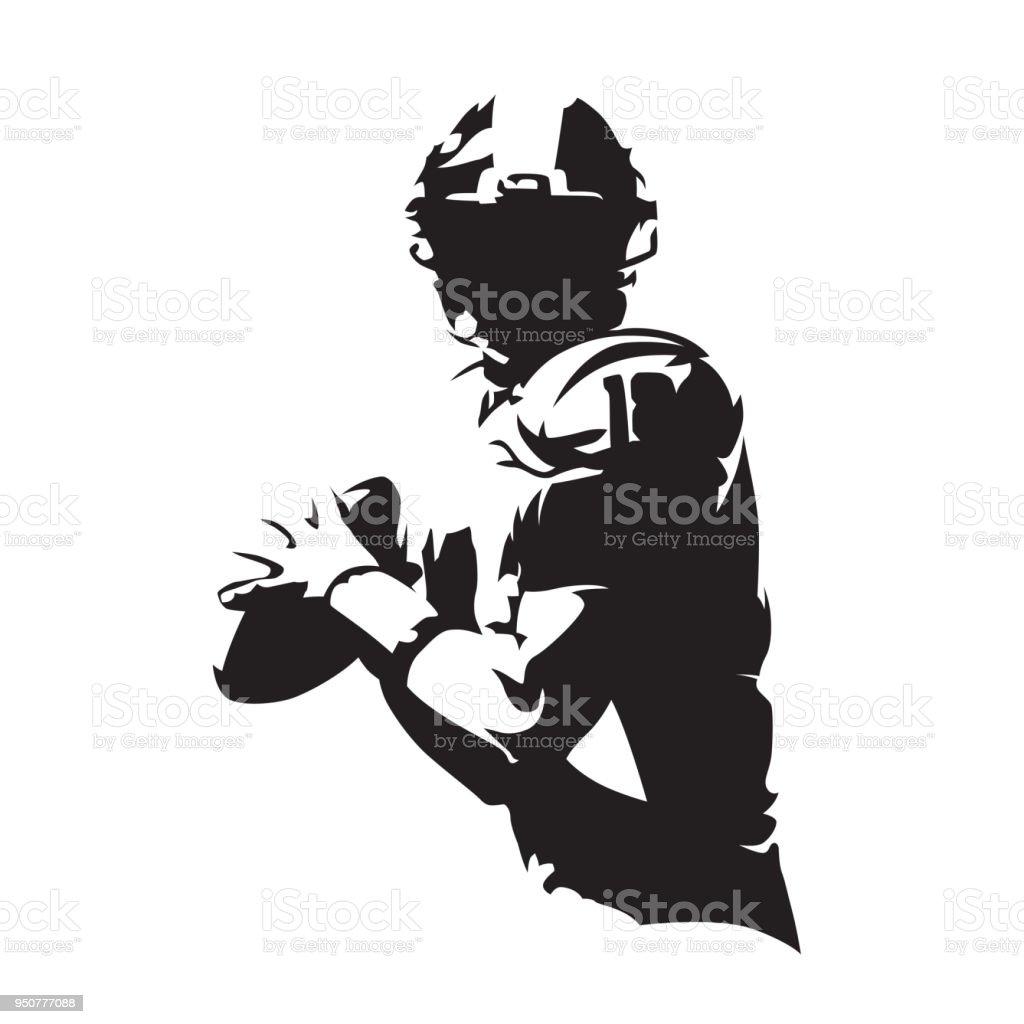 Jugador de fútbol americano con bola, silueta vector aislado. Deporte de equipo - ilustración de arte vectorial