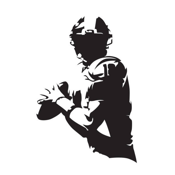 american football player holding ball, isolated vector silhouette. team sport - football stock illustrations, clip art, cartoons, & icons