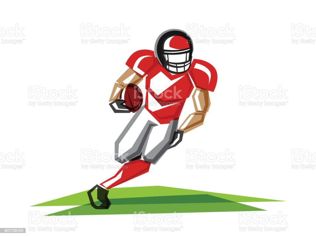 American football player of polygons vector art illustration