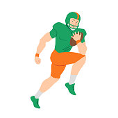 American football player. Quarterback making scramble. Vector flat illustration. Avatar, the people isolated on white.