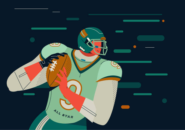 Best American Football Quarterback Illustrations Royalty