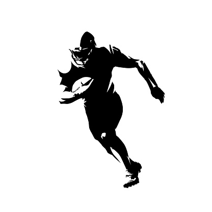 American football player running with ball, isolated vector silhouette. Front view, ink drawing