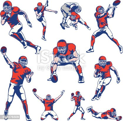 Illustration set of american football players. All colors are separated in layers. Easy to edit. Black and white version (EPS10,JPEG) included.