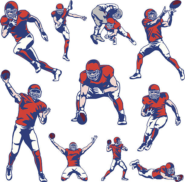American Football Player Set Illustration set of american football players. All colors are separated in layers. Easy to edit. Black and white version (EPS10,JPEG) included. american football player stock illustrations