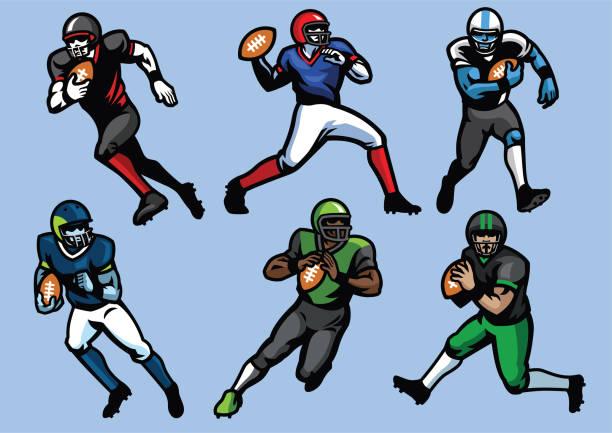 American Football Player set vector of American Football Player set advanced tactical fighter stock illustrations