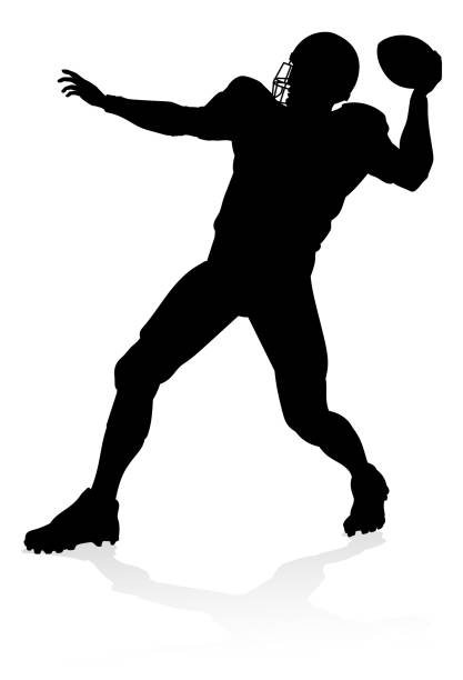American Football Player Silhouette Detailed American Football player sports silhouette quarterback stock illustrations