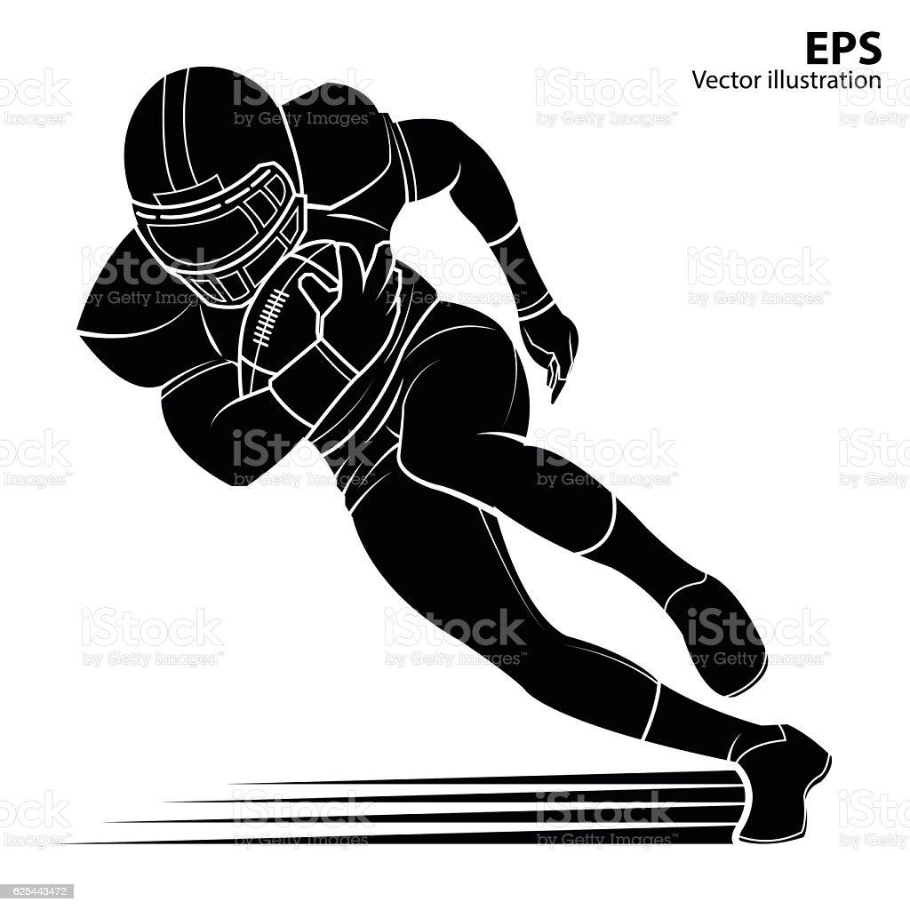 American football player, silhouette Vector illustration. vector art illustration