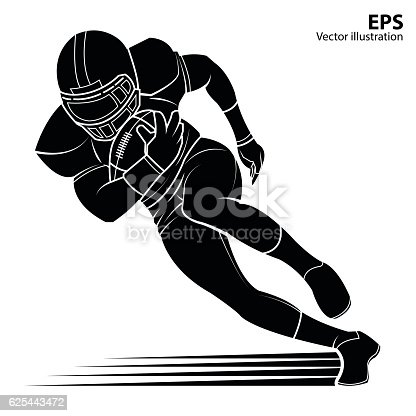 American Football Player Silhouette Vector Illustration ...