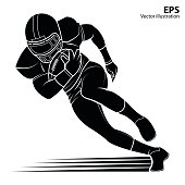 American football player, silhouette Vector illustration.