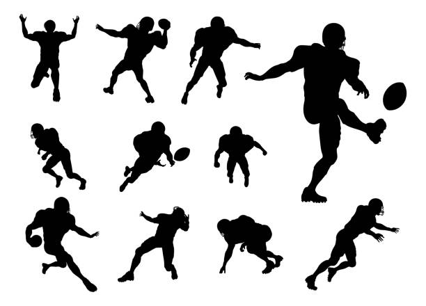 American Football Player Silhouettes A set of detailed silhouette American Football players in lots of different poses american football player stock illustrations
