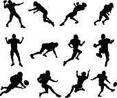 American football player silhouettes