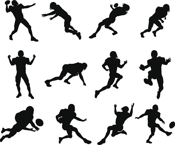 American football player silhouettes A set of highly detailed high quality American football player silhouettes. Vector file is eps 10 wide receiver athlete stock illustrations