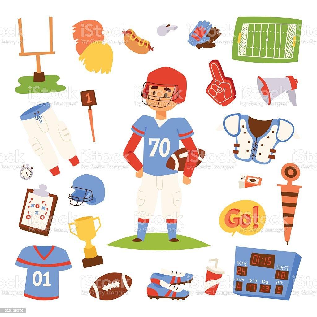 American football player vector set. vector art illustration