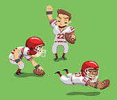 American Football Player with Ball in field I