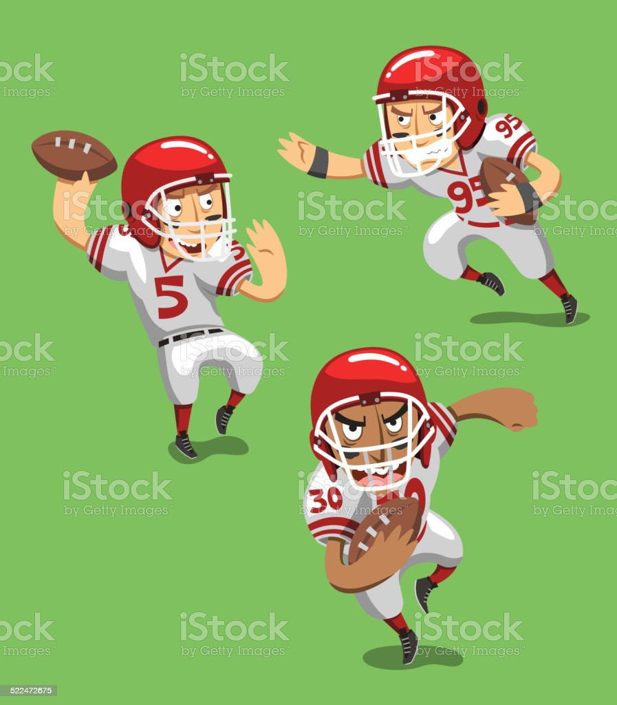 American Football Player with Ball in field vector art illustration