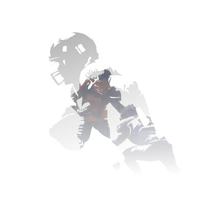 American football players, double exposure vector illustration. Group of isolated football players, multiexposure