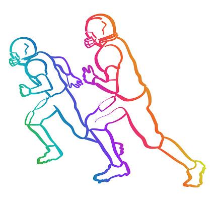 American Football Players Rainbow