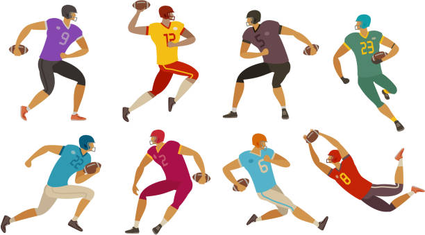American football players. Sport concept. Cartoon vector illustration football players. sport concept. cartoon vector illustration rugby stock illustrations
