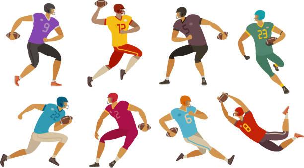 illustrations, cliparts, dessins animés et icônes de joueurs de football américain. notion de sport. illustration de vecteur de dessin animé - rugby