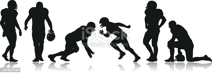 Vector silhouettes of American Football Players