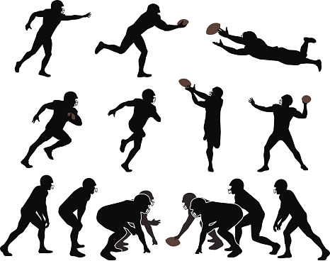 Outlines of football players. Files included – jpg, ai (version 8 and CS3), svg, and eps (version 8)