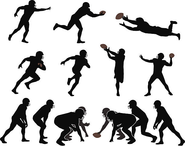 American Football Players Outlines of football players. Files included – jpg, ai (version 8 and CS3), svg, and eps (version 8) line of scrimmage stock illustrations