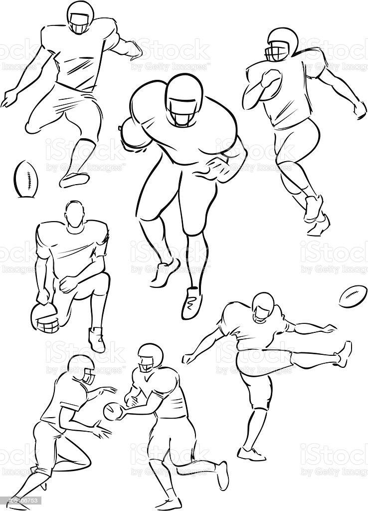 American Football playing figures 2 vector art illustration