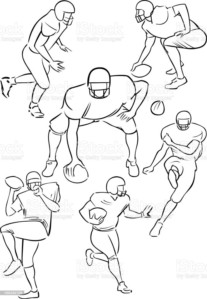 American Football playing figures 3 vector art illustration
