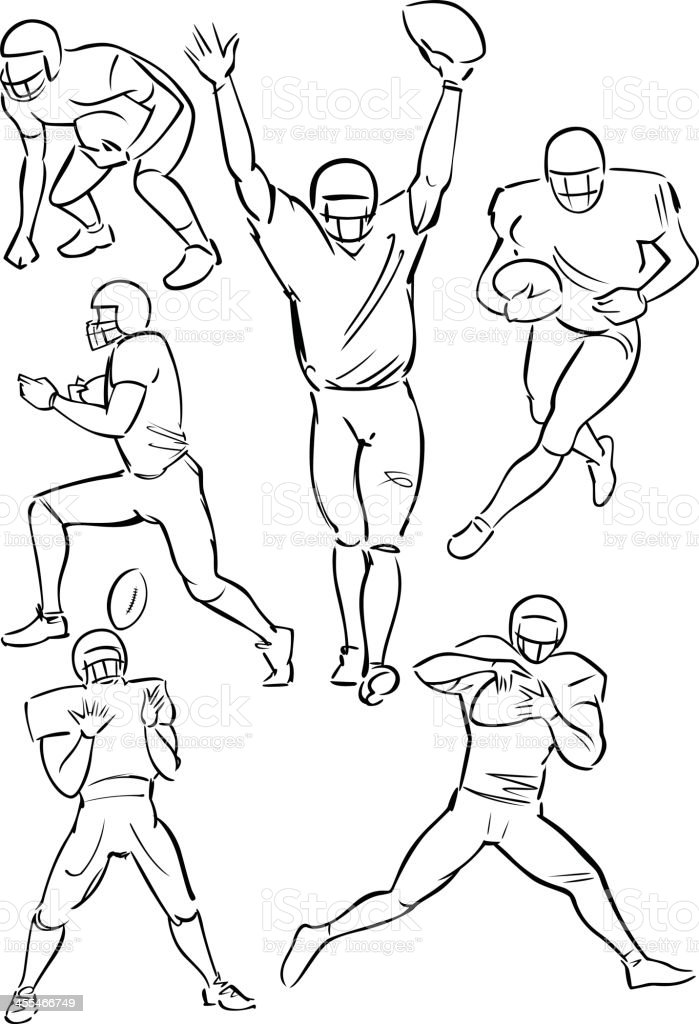 American Football playing figures vector art illustration