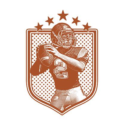 American Football Quarterback passing football, flat design