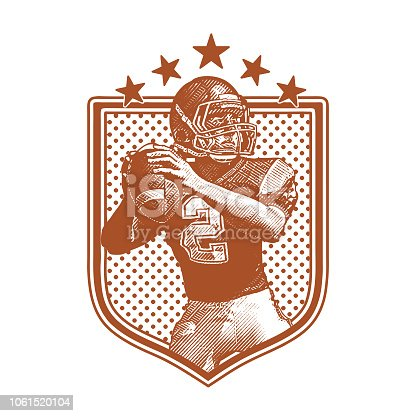 Engraving illustration of a American Football Quarterback passing football