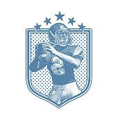 Engraving illustration of a American Football Quarterback passing football