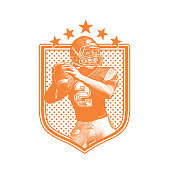 American Football Quarterback passing football, flat design