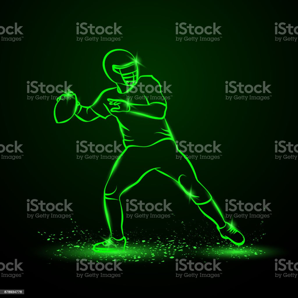 American Football Quarterback Throws The Ball Green Neon
