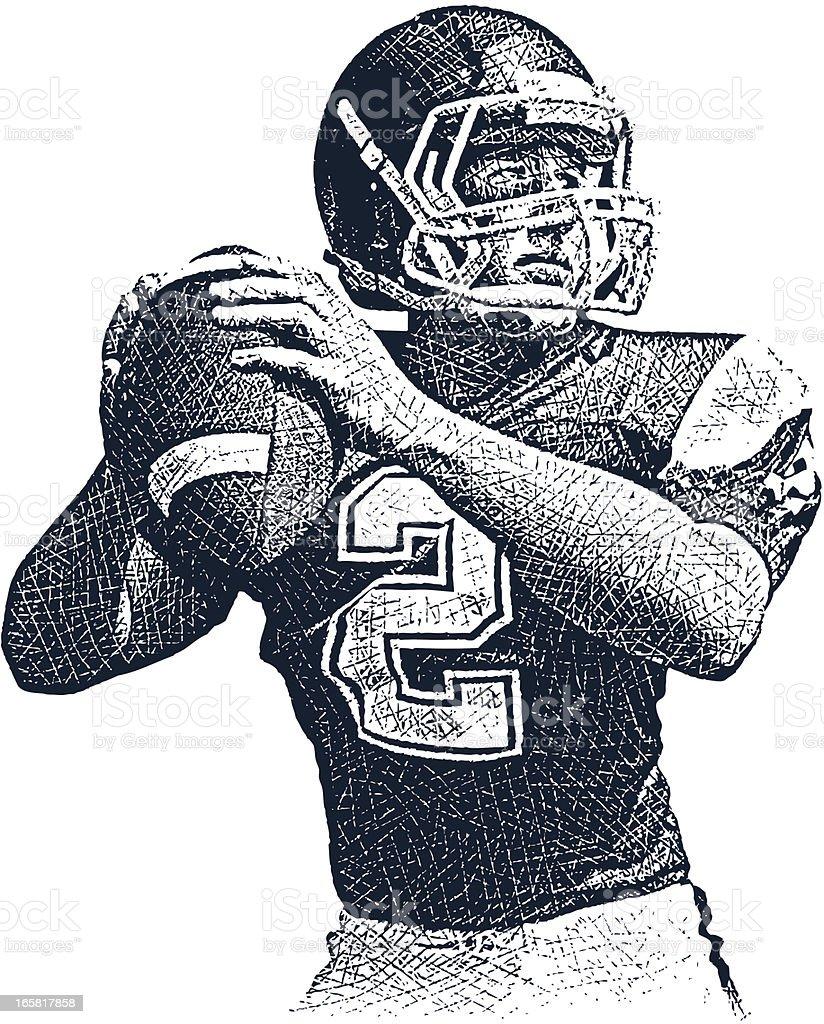 American Football Quarterback vector art illustration