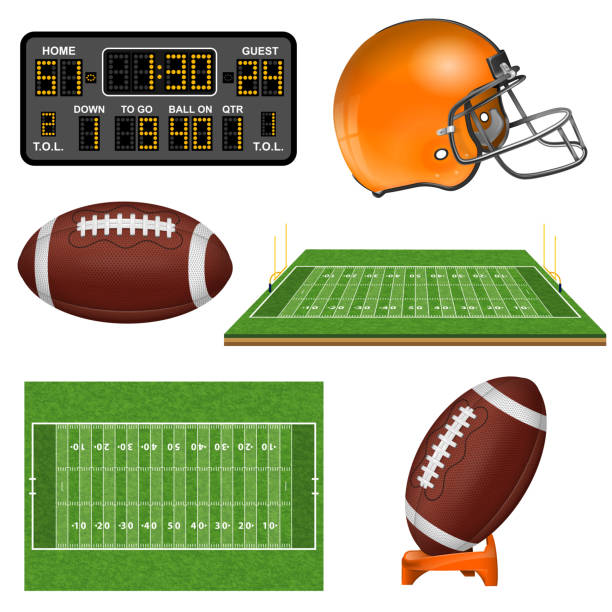 american football realistic icons - football stock illustrations, clip art, cartoons, & icons