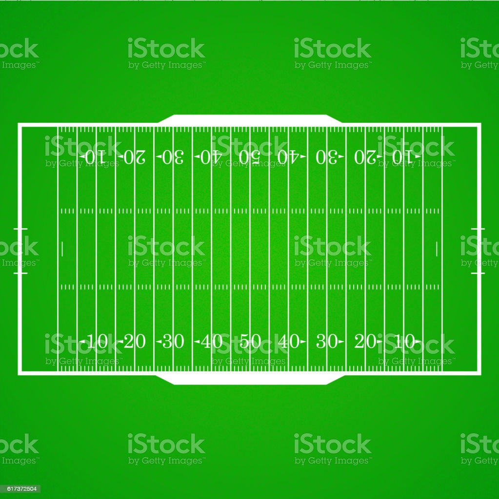 American football realistic, textured field vector art illustration