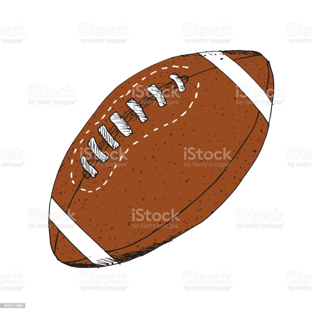 American Football Rugby Ball Hand Drawn Grunge Textured Sketch Vector Illustration Isolated On White Background Stock Illustration Download Image Now Istock