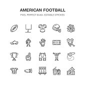American football, rugby vector flat line icons. Sport game elements - ball, field, player, helmet, fan finger, snacks. Linear signs set, championship pictogram for fan store. Pixel perfect 64x64