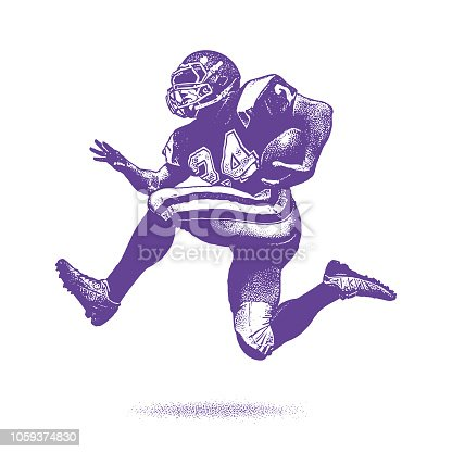Stipple illustration of an American Football Running Back
