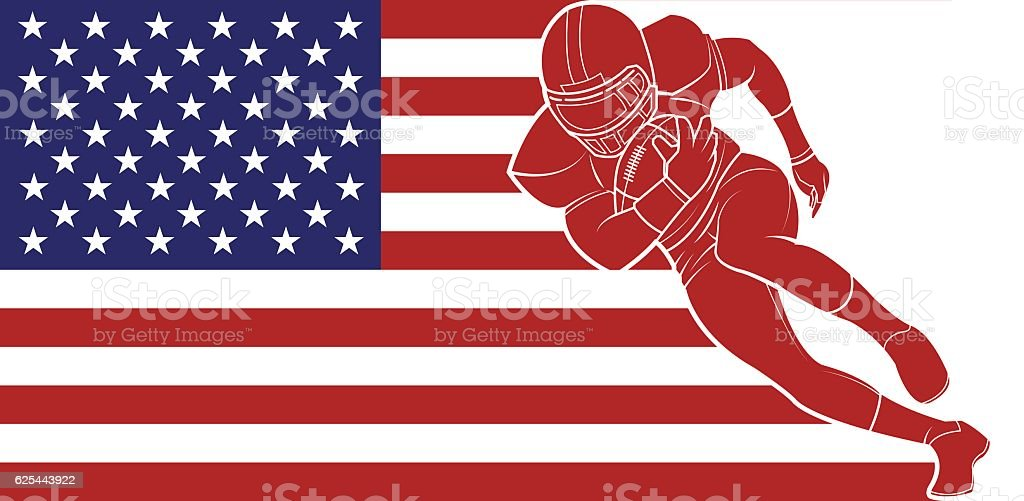 American football running with the ball on flag background. vector art illustration