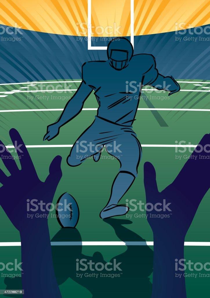 American football scene - Field Goal vector art illustration
