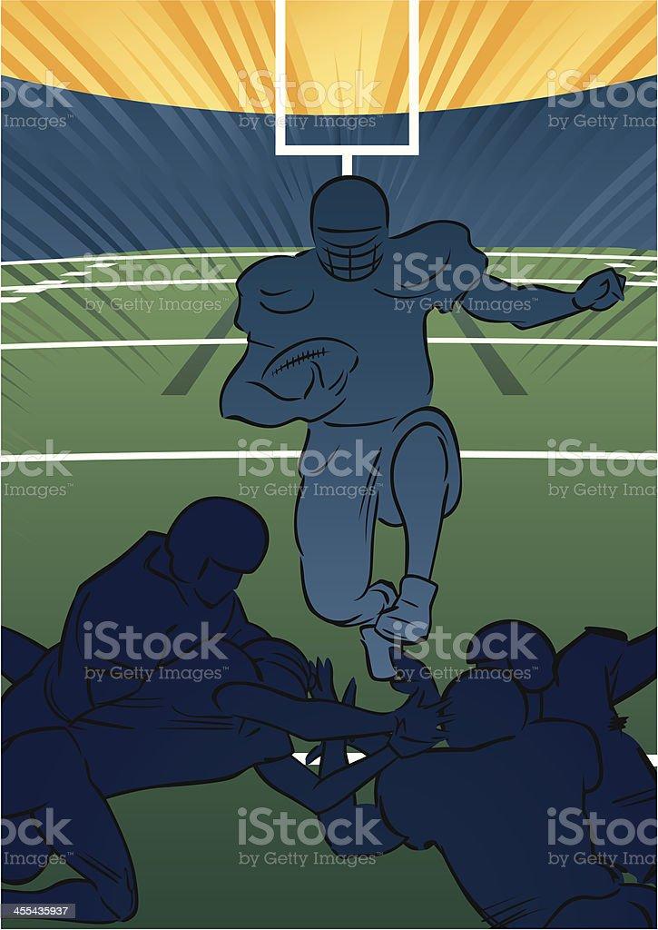 American football scene - Running back jumping vector art illustration
