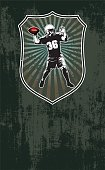 american football scene with shield and background