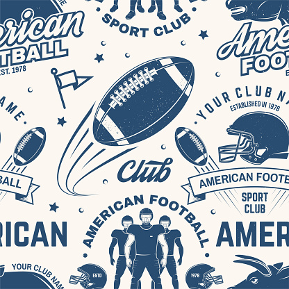 American football seamless pattern, background. Vector. Seamless sport pattern with bull, sportsman player, helmet, ball and shoulder pads silhouette. American football sport club texture.