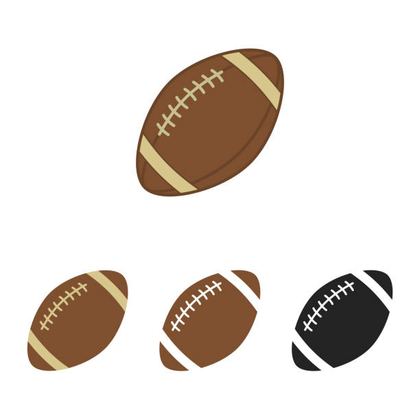 American football set. Sport ball for american football. Vector silhouettes of a rugby balls. Vector icons isolated on white background. Flat vector collection. American football set. Ball for american football. Vector silhouettes of a rugby balls. Vector icons isolated on white background. Vector collection in flat style. rugby stock illustrations
